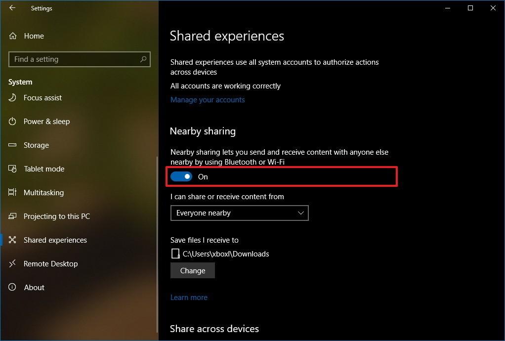 فعال کردن nearby sharing